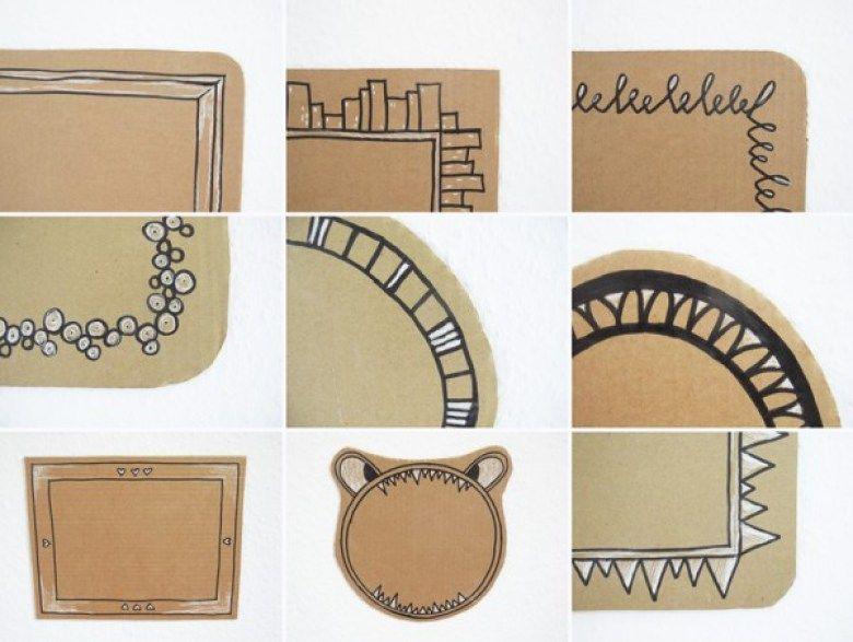 Vintage Gezeichnete Rahmen Tapete Upcycling DIY Edding Marker Schwarz Wei