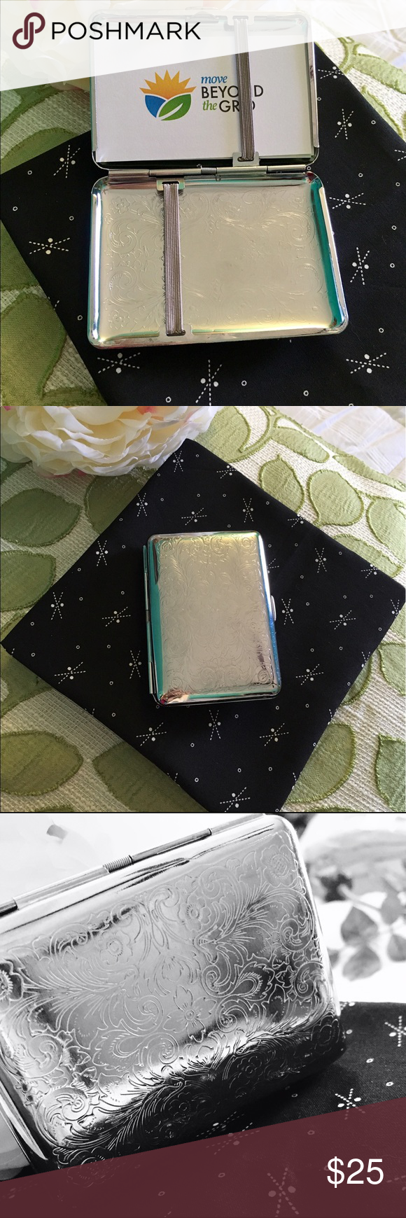 Etched Silver Plated Business Card Holder
