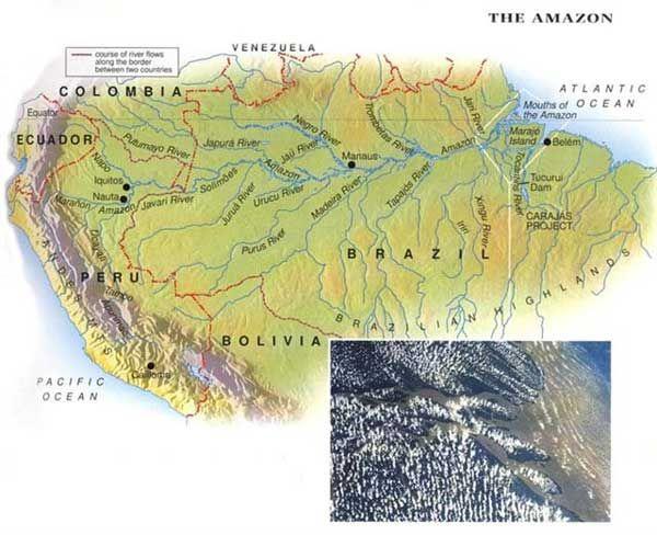 The Amazon River Basin Amazon River South America Map River