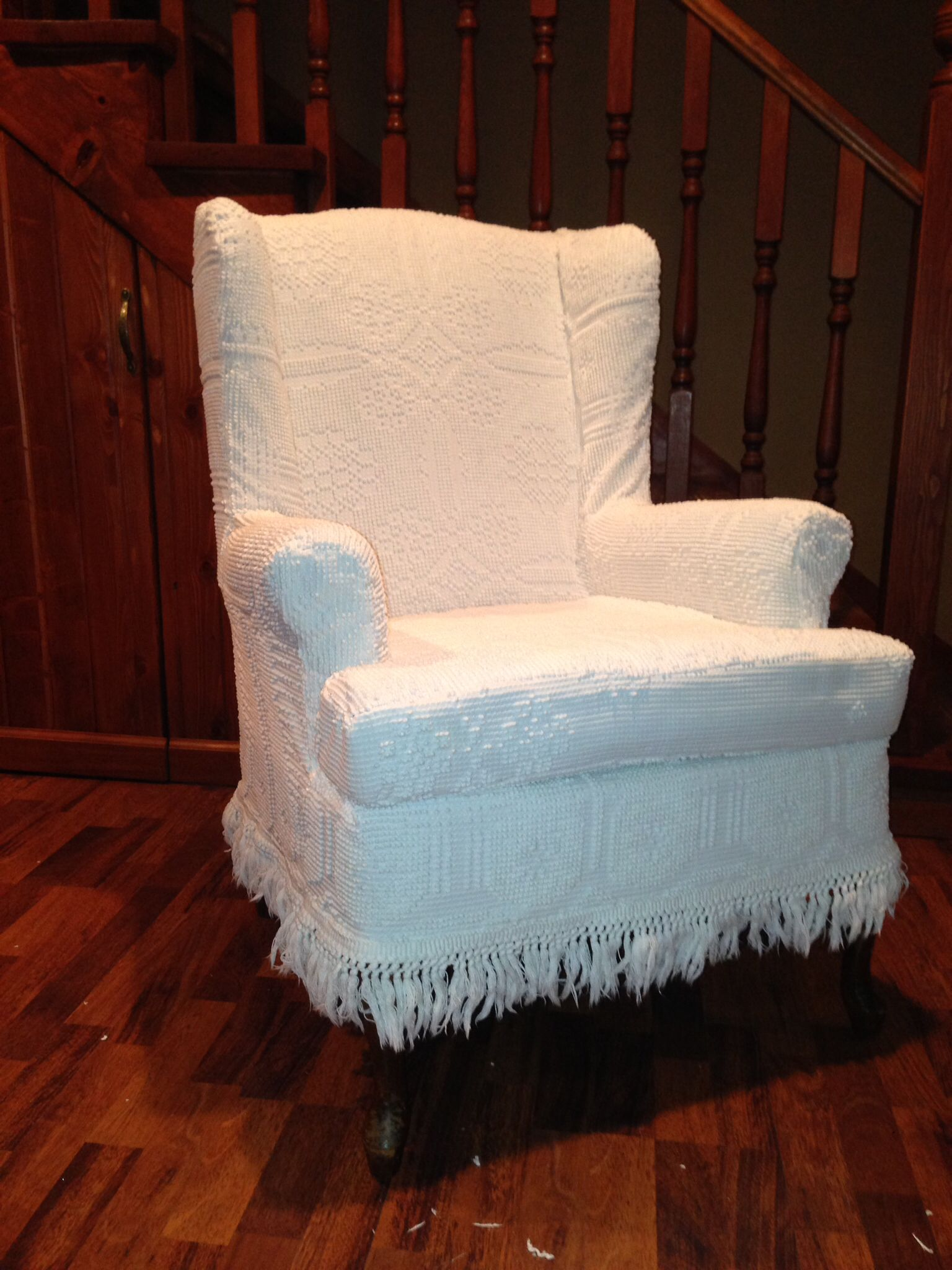 Used Wingback Chairs Chenille Bedspread Slip Cover I Had A Wing Back Chair And