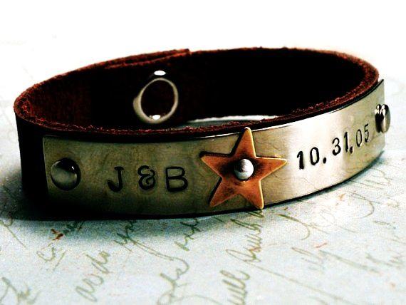 could be wedding celebration bracelet Personalized Bracelet - Custom Hand Stamped Brown Leather Bracelet