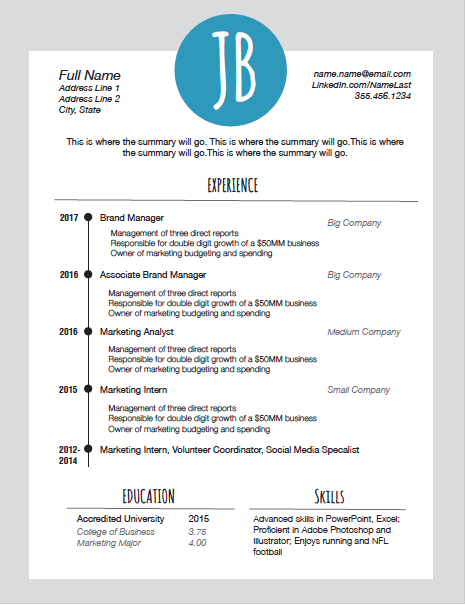 free resume template with initials