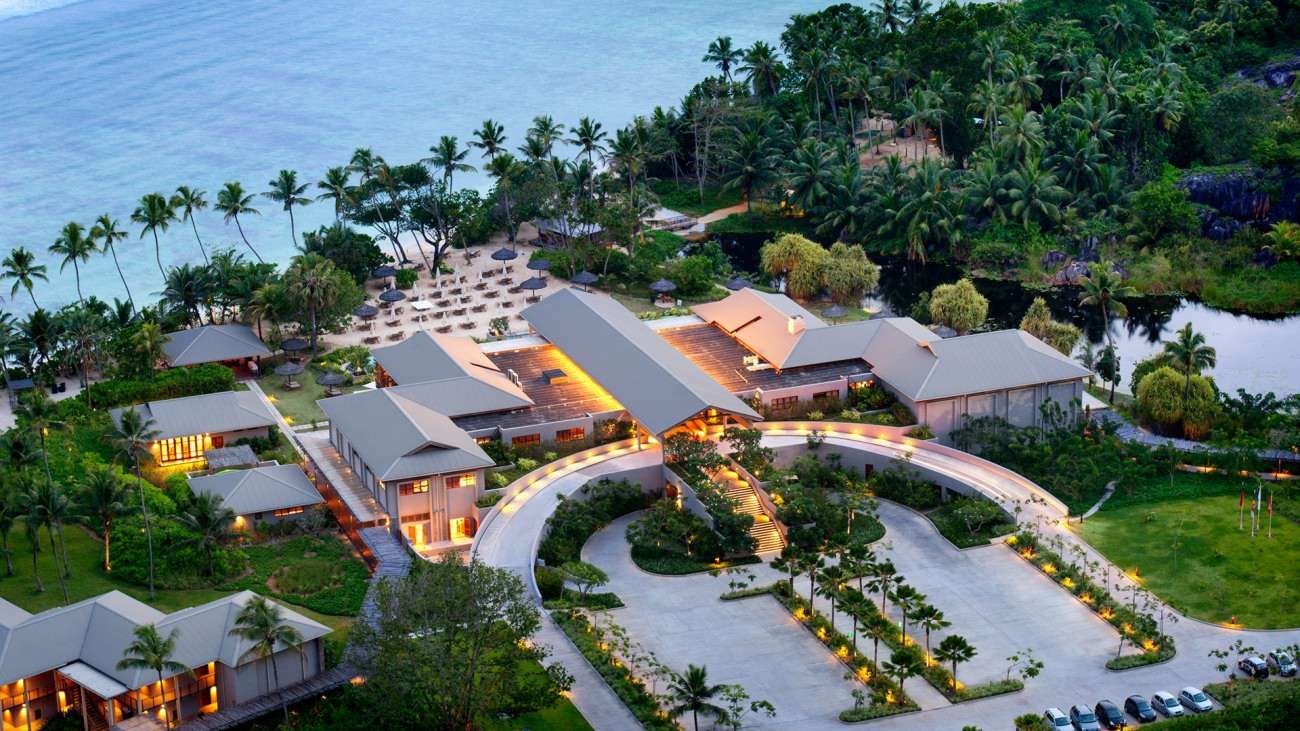 An overhead view of the main building of the Kempinski Seychelles Resort