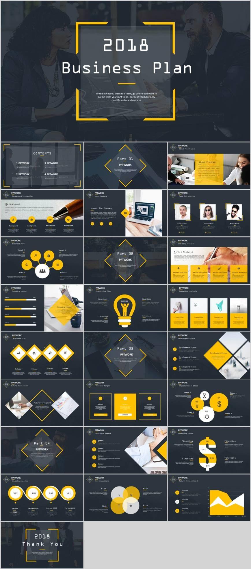 Yellow business plan modern PowerPoint templatepowerpoint