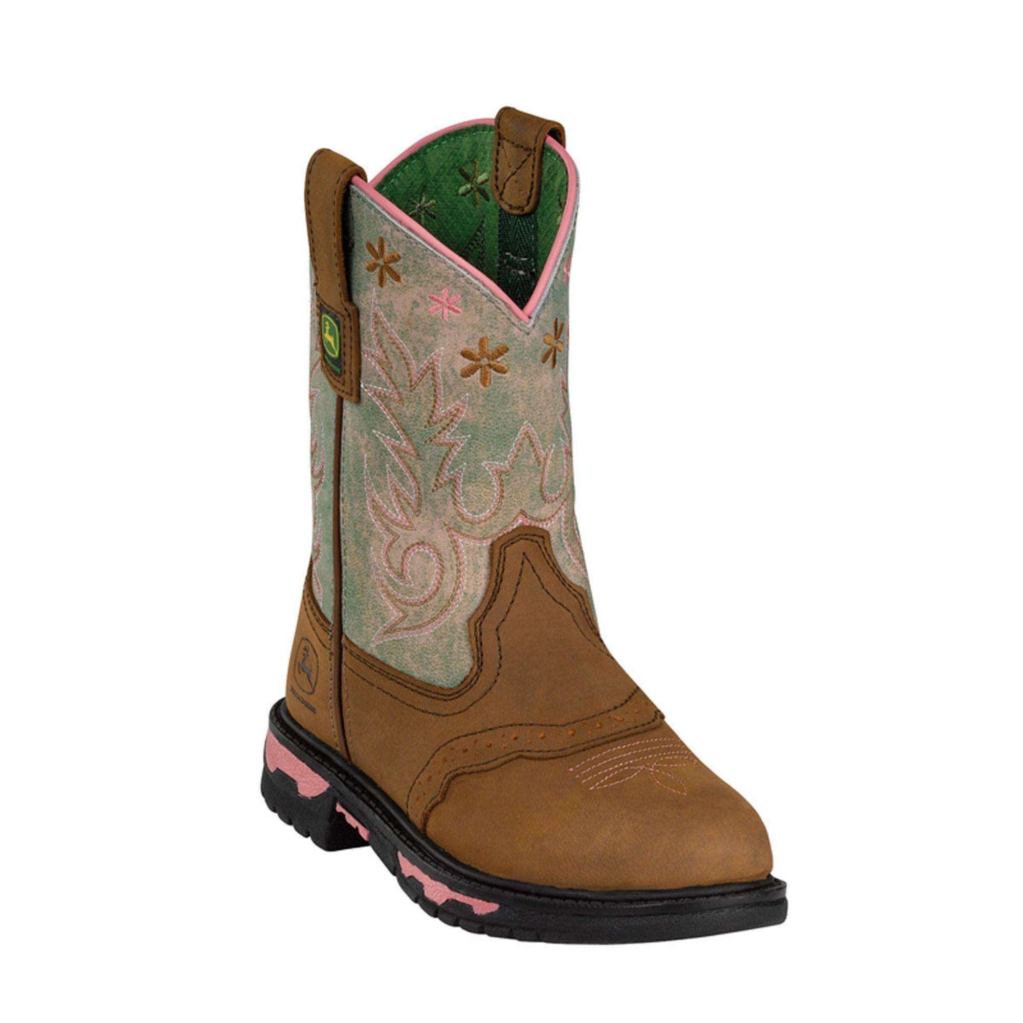 John Deere Children Girls Green Sanded Leather Saddle Vamp
