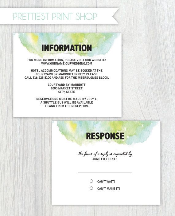 Wedding Invite Enclosures: Printable Wedding Invitation Enclosure Cards