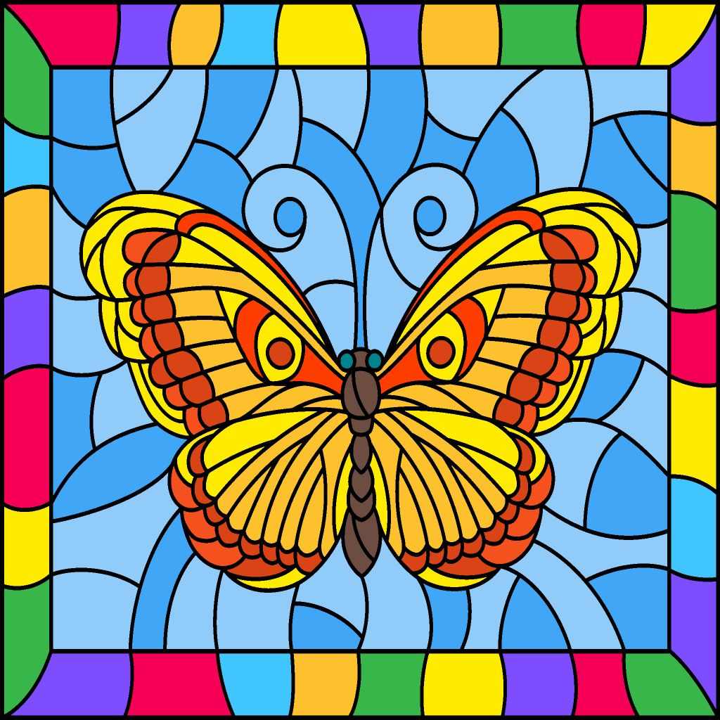 Stained Glass Butterfly! | Coloring book app, Butterfly ...