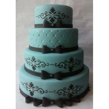 573daceb3a8eb Bolo cenográfico (Fake) Azul Tiffany com Preto