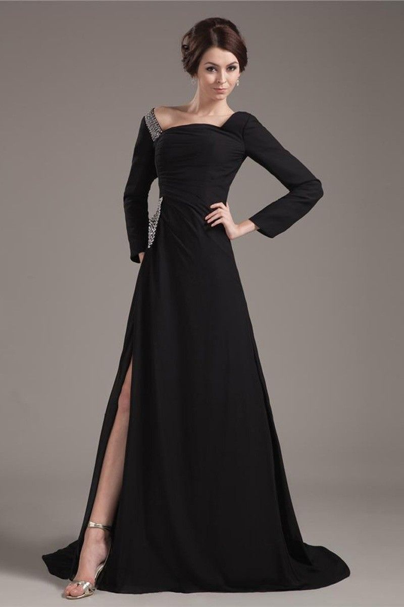 long sleeves black evening dress, evening dress with sleeves ...