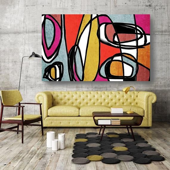 Vibrant Colorful Abstract-0-43. Mid-Century Modern Red Yellow Canvas ...