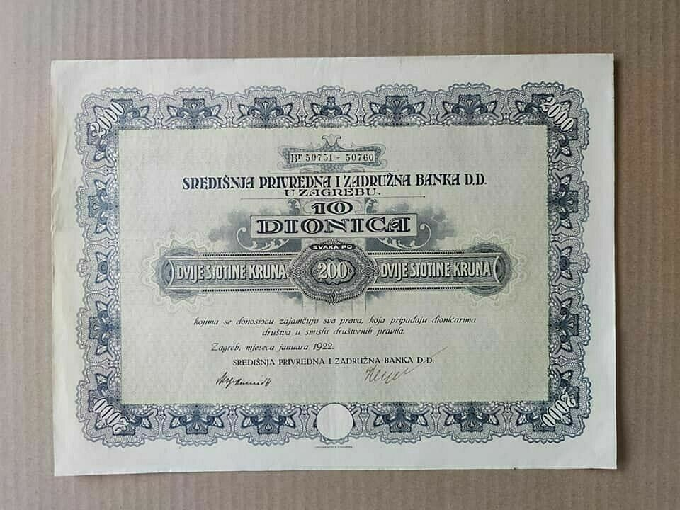 Croatia Central Commercial And Cooperative Bank 200 Kruna 1922 Rare Share Ebay Croatia Siege Of Sarajevo Cooperation