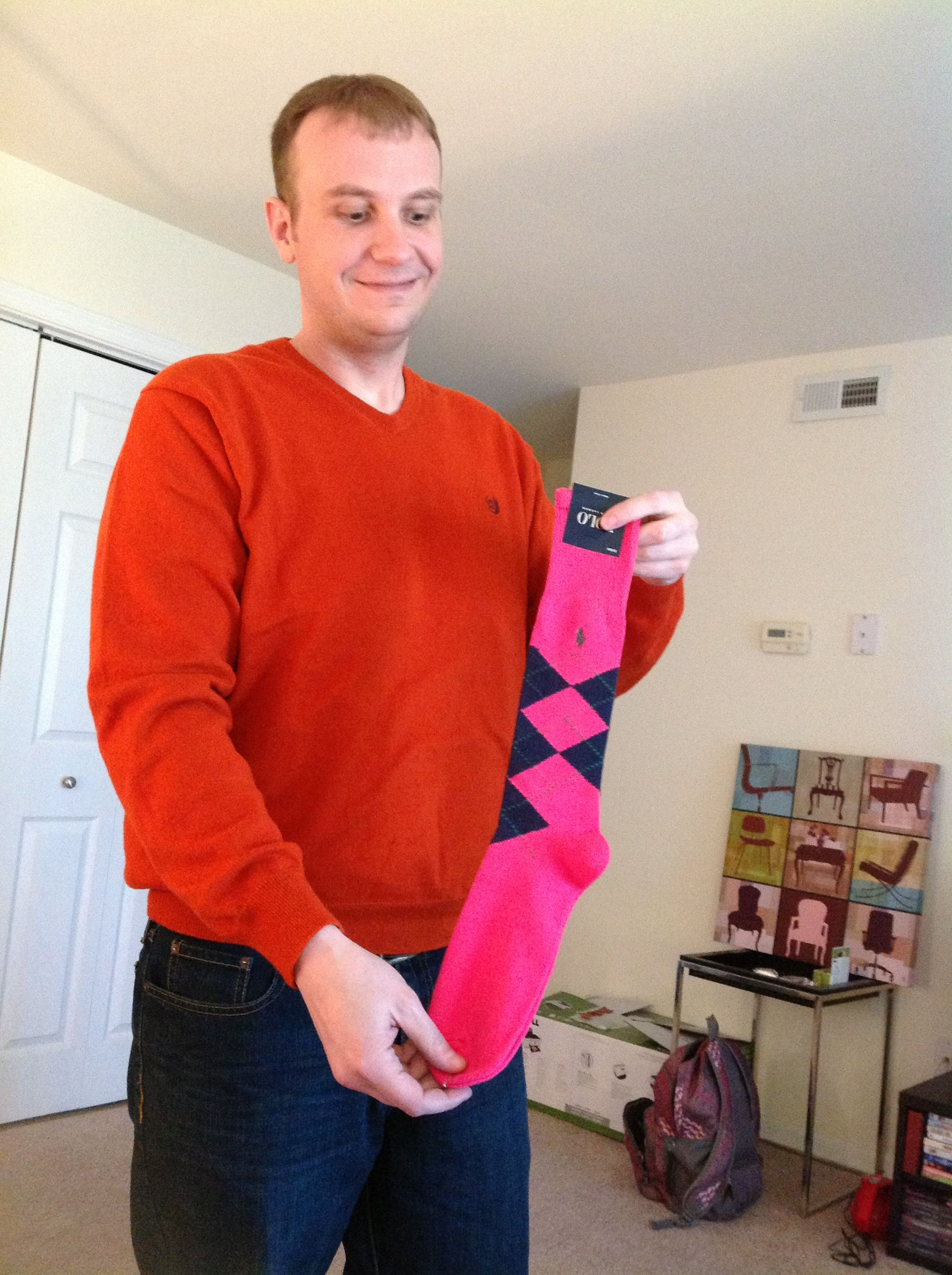 The hot pink argyle socks for the groomsmen from lord and Taylor by Ralph Lauren
