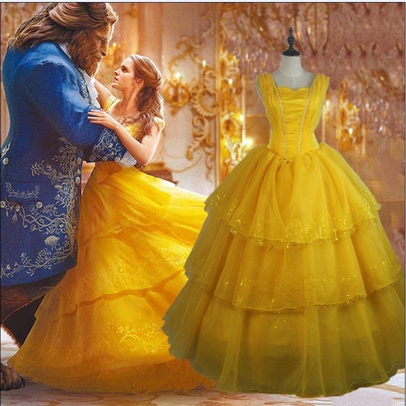 Halloween Ladies Princess Belle Costume The Beauty And The Beast Cosplay Dress D Advertisement Halloween Fa Princess Costume Ladies Belle Costume Princess Belle