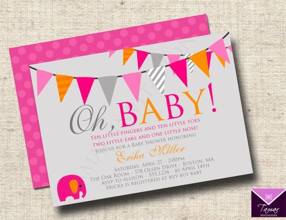 Printable Oh Baby Modern Shower Invitations Boy Or With Free Back
