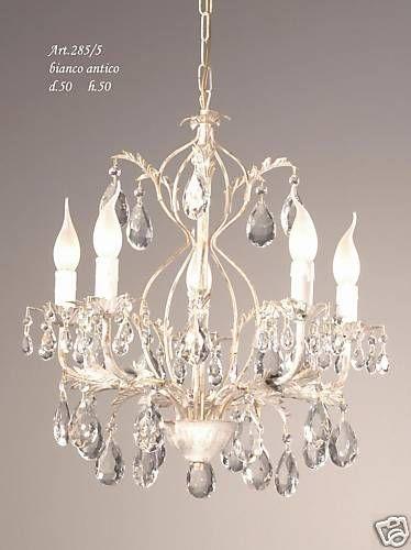 Lampadario ferro battuto e cristalli chandelier 5 luci