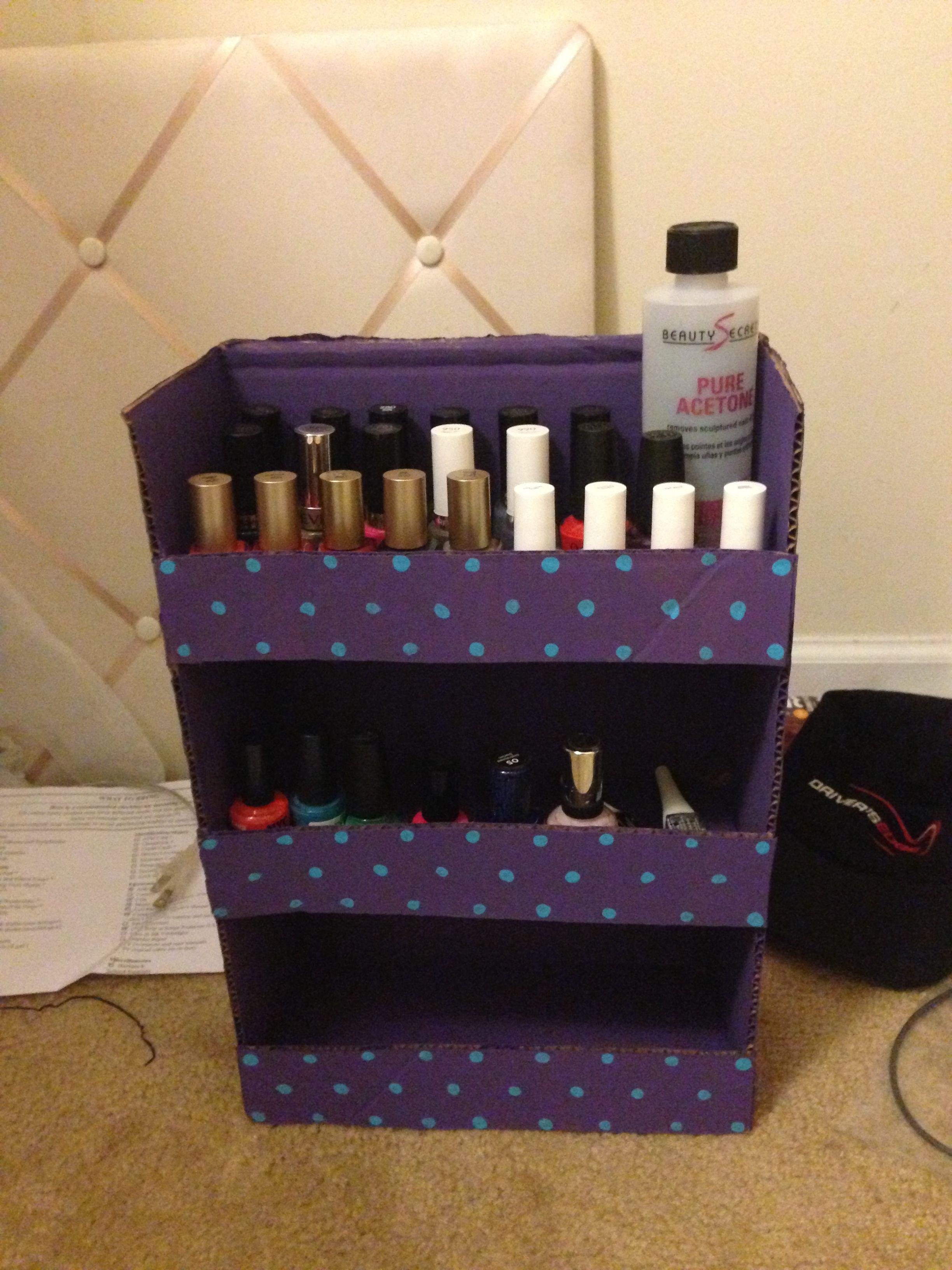 Nail polish stand made from a cardboard box   DIY Crafts   Pinterest
