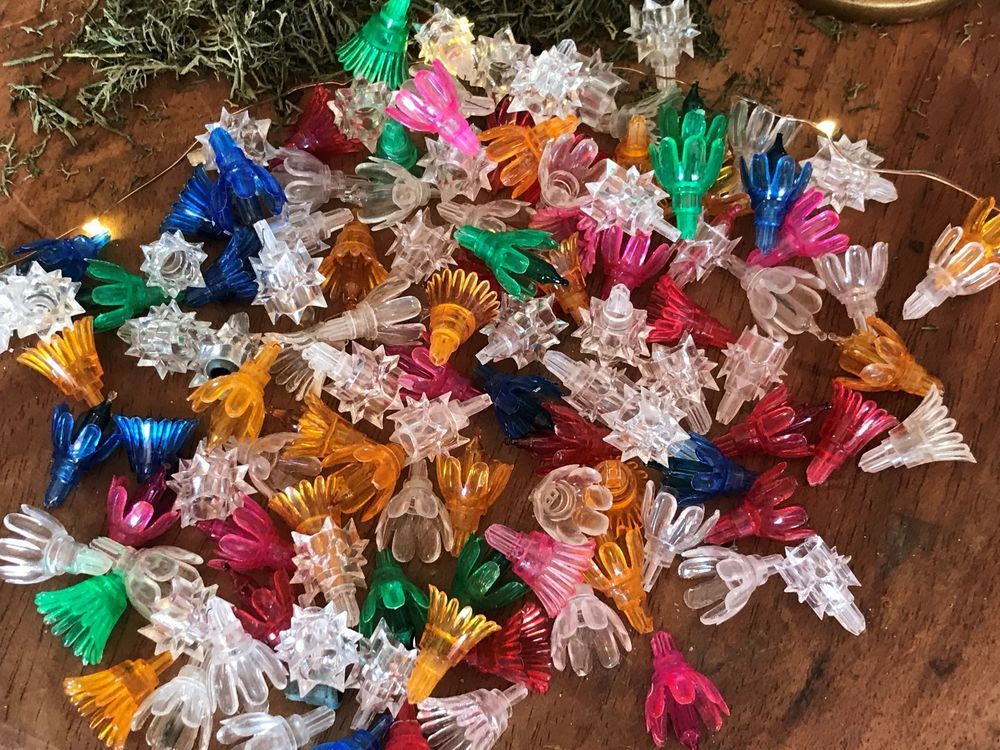Vtg Lot Of 110 Multi Color Fluted Star Floral Christmas Light