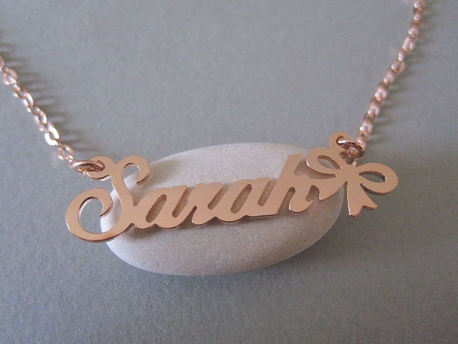 Personalized Rose Gold Name Necklace With Design B Via Etsy Gold Name Necklace Name Necklace Necklace