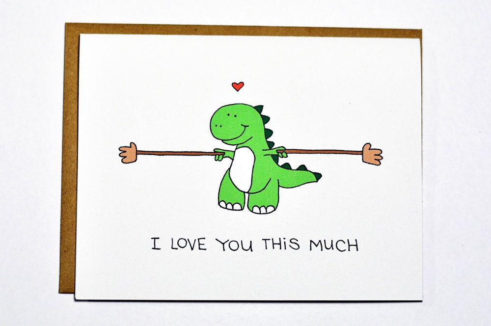 Cute Dinosaur card - T-rex I love you this much, love card ...