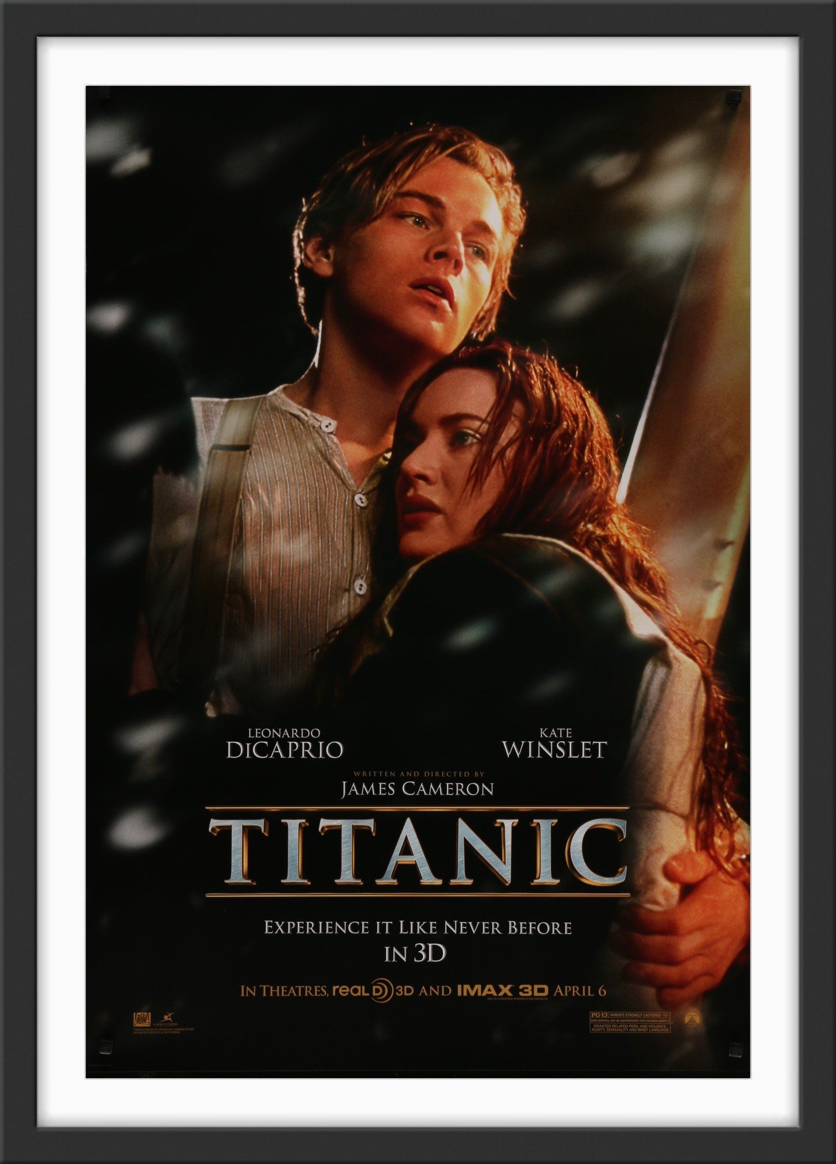 """Condition: Very Good. Never folded! Free shipping within the UK. A low flat rate for the rest of the world. Size: 69 cm x 102 cm (27 in x 40 in) A guaranteed original IMAX one sheet poster from the 2012 release of James Cameron's 1997 epic """"Titanic"""", starring Leanardo DiCaprio and Kate Winslet. Based on the ill fated maiden journey of RMS Titanic, the British passenger lined that, having set sail from Southampton, sank in the North Atlantic on 15th April 1912. Nominated for fourteen Oscars and w"""