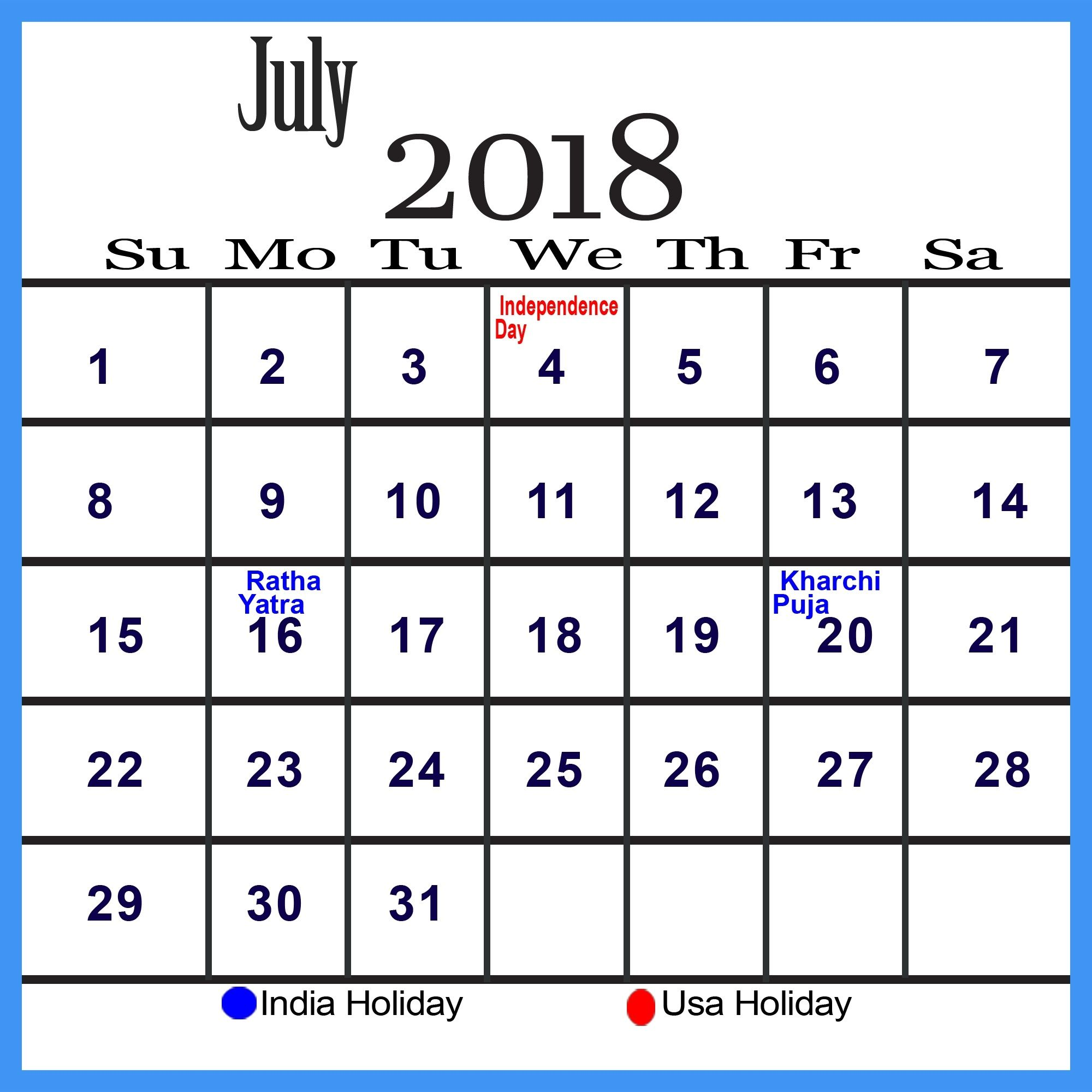 Decorative July 2018 Calendar July 2018 Calendar PDF Word Excel