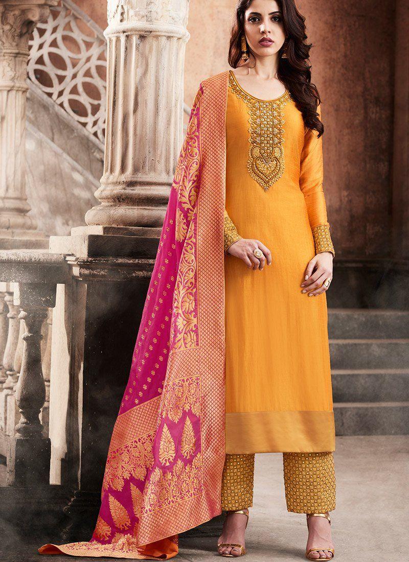 f321bdcd1f Orange color slub silk wedding anarkali Suits Online Shopping, Churidar  Suits, Indian Salwar Kameez