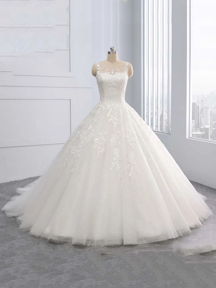 Gorgeous Lace-Up Sweep Train Ball Gown Wedding Dresses – Ball Gown Wedding Dresses