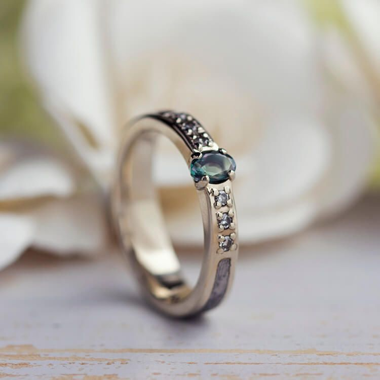 alexandrite wedding ring white gold and meteorite engagement ring - Alexandrite Wedding Ring
