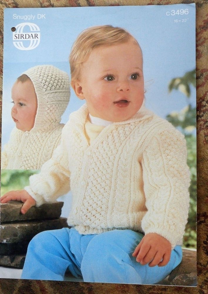 Baby Textured Cable Jacket Sirdar # 3496 knitting pattern 8 ply DK ...