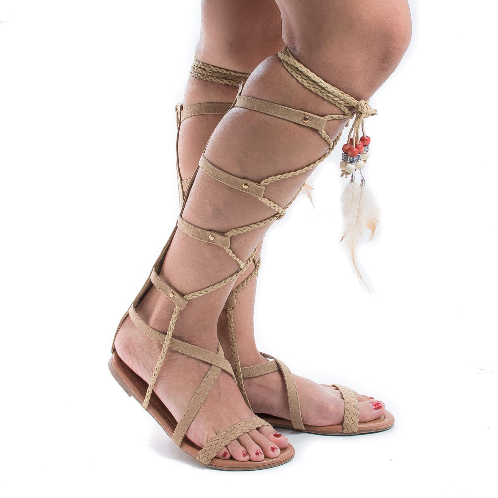Knee High Gladiator Feathered Lace Up Leg Wrap Flat