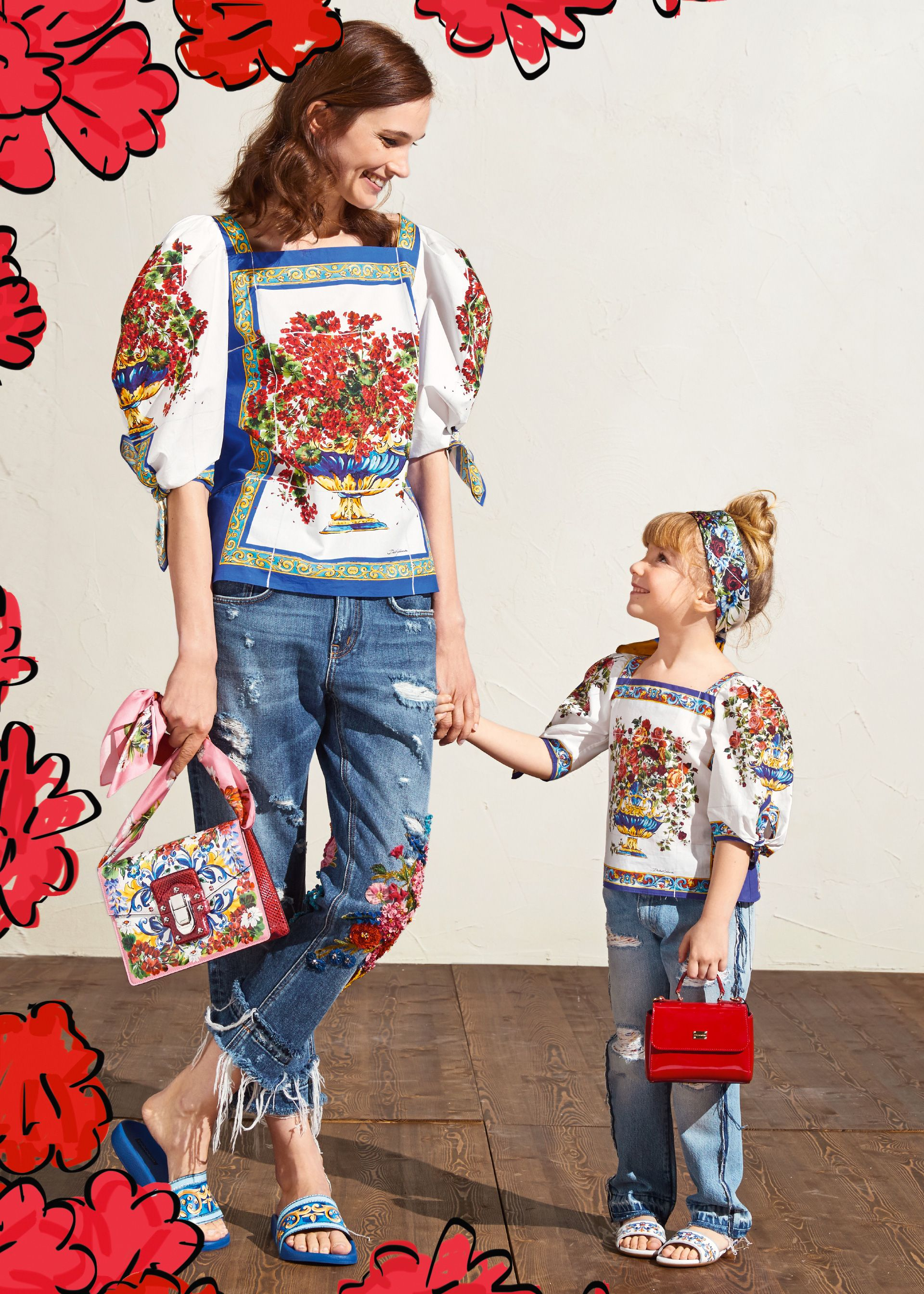 9bb912d61bb Super cute mommy   me look by Dolce   Gabbana inspired by the Caltagirone  Collection as a tribute to Sicily.