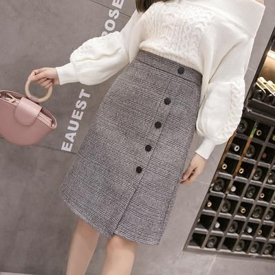 Autumn plaid knee length womens skirts 2018 winter high waist slit skirt female ladies office business buttons midi jupe femme