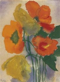 Artwork by Emil Nolde, Roter und gelber Mohn, Made of watercolour on Japan paper