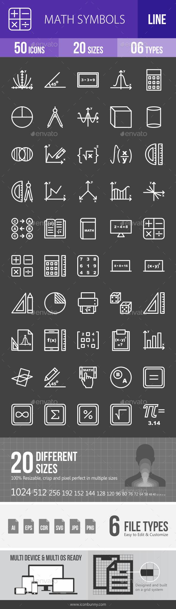 Math Symbols Line Inverted Icons Maths Symbols And Icons