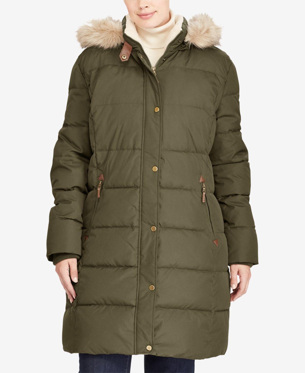 Lauren Ralph Lauren Plus Size Faux-Fur-Lined Hooded Down ...