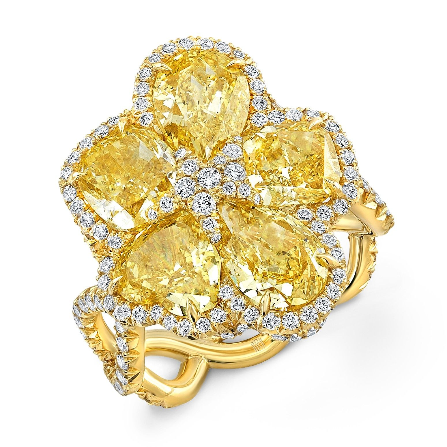 Rahaminov Diamonds Fancy Vivid Yellow Diamond Flower Ring In 18k