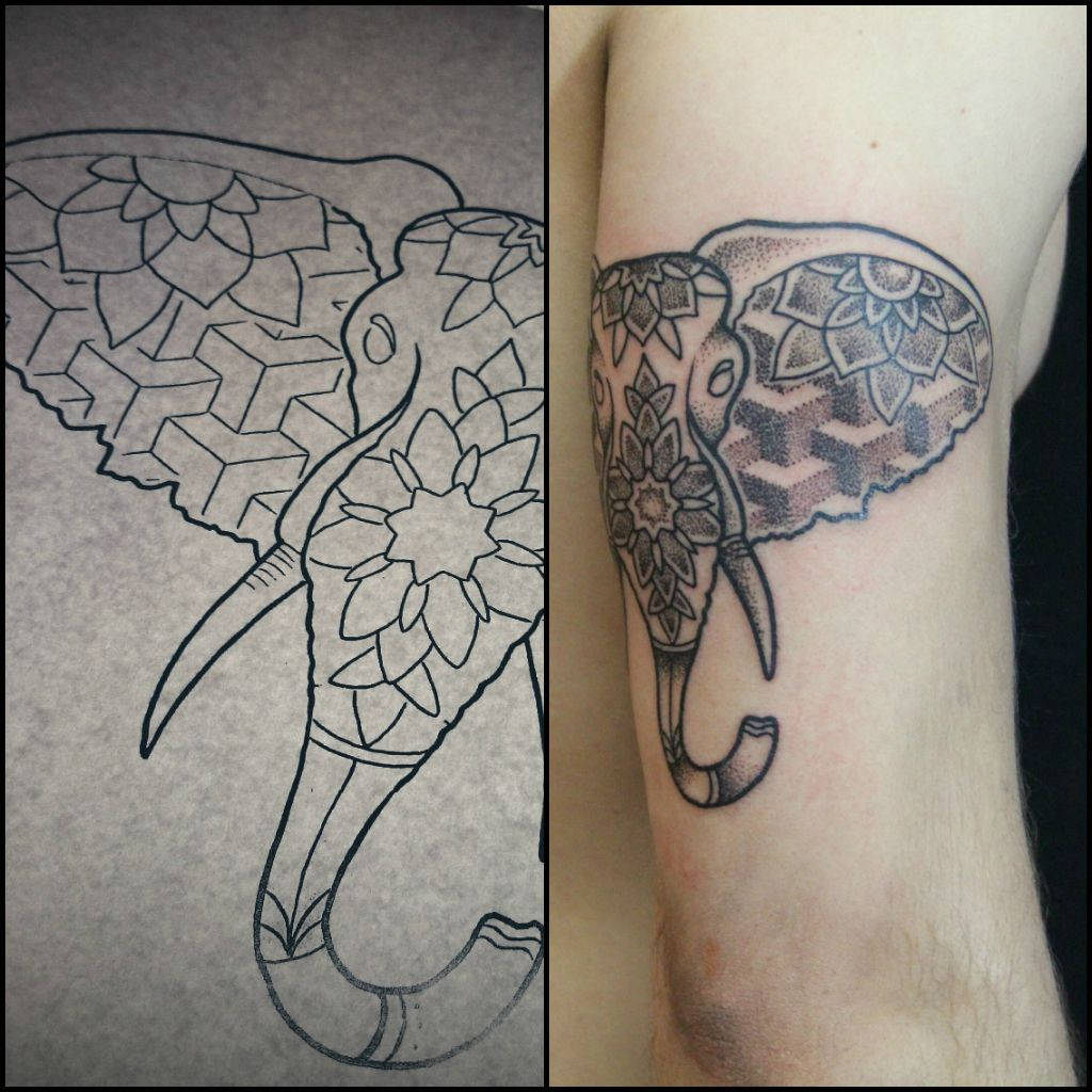 #tattoo #dotwork #geometry #black #puntos #dotworktattoo #pradatattoo #prada #madrid #tatuaje #hipstertattoo #hipster #elephant #elephanttattoo #girl #mandala #mandalatattoo #sacredgeometry #geometrictattoo #elefante #animals #pattern