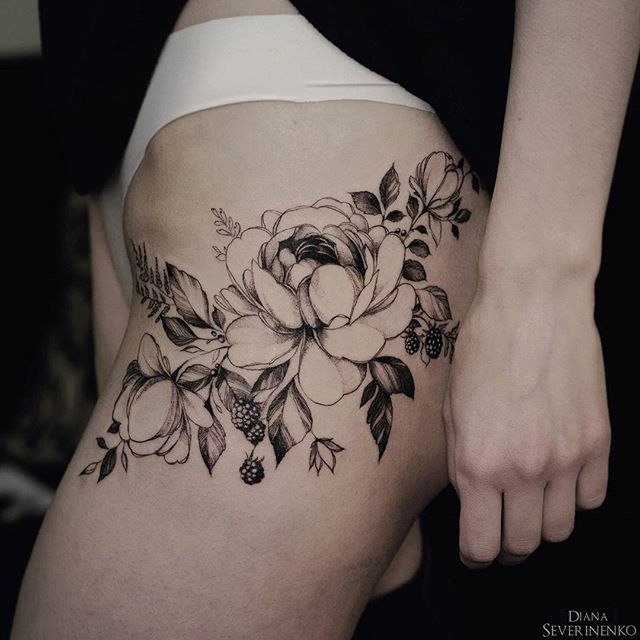 Flower tattoo by diana severinenko tattoo ideas pinterest tatouages fleur et id e tatouage - Trouver son tatouage ...