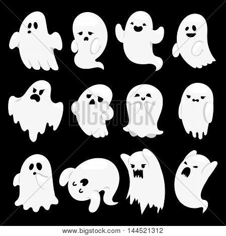 Cartoon spooky ghost character vector set spooky and scary holiday cartoon spooky ghost character vector set spooky and scary holiday monster design ghost character costume evil silhouette ghost character creepy funny publicscrutiny Images