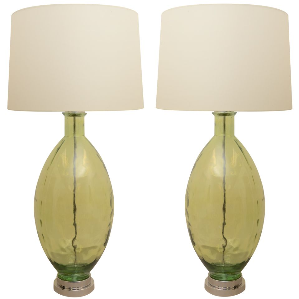 Large Pair of Green Glass lamps