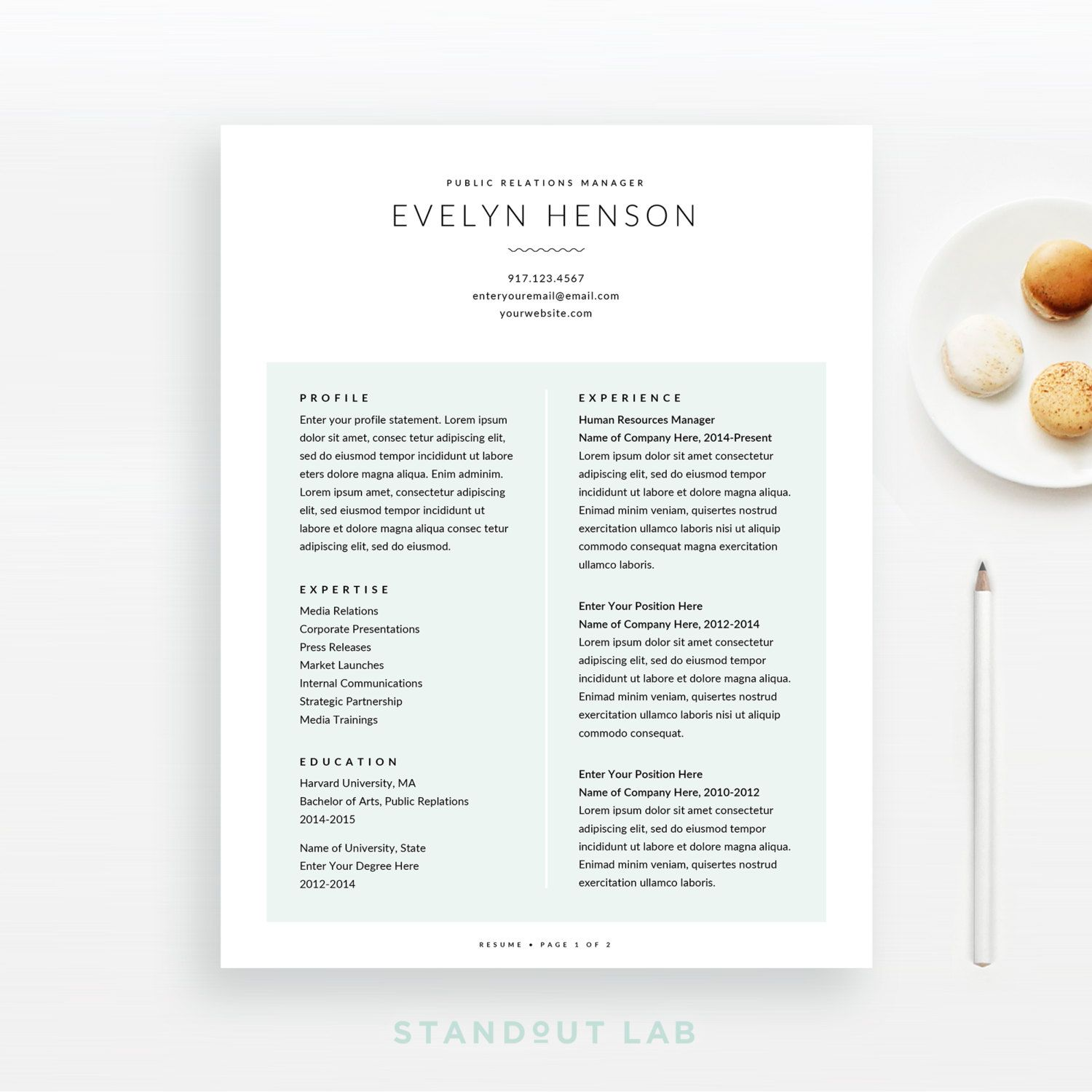 Resume Template and Cover Letter Template, Professional