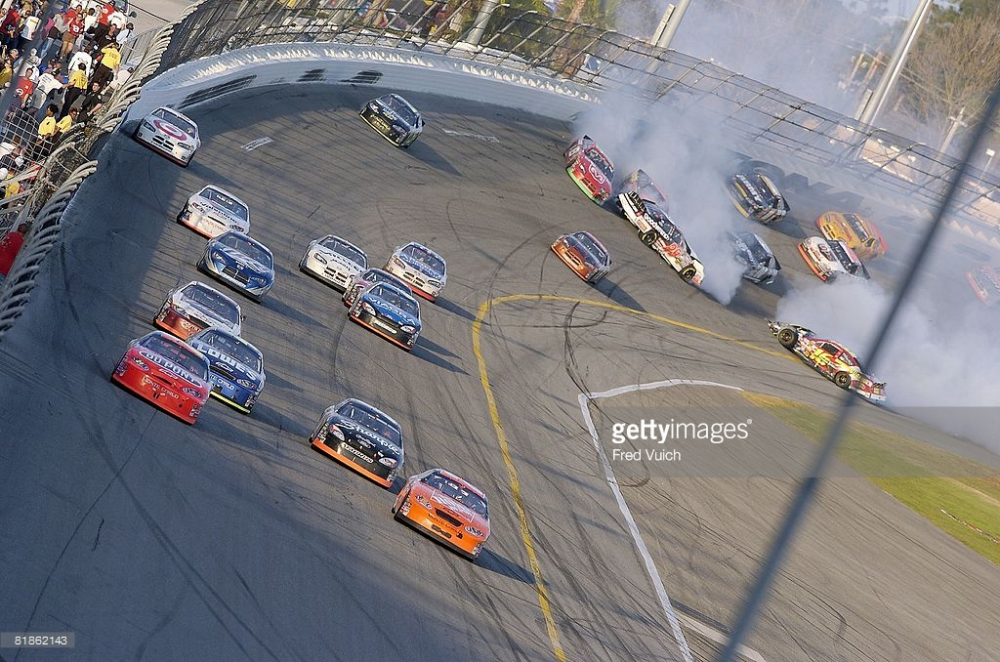 2005 The biggest wreck of the day came with 16 laps to go