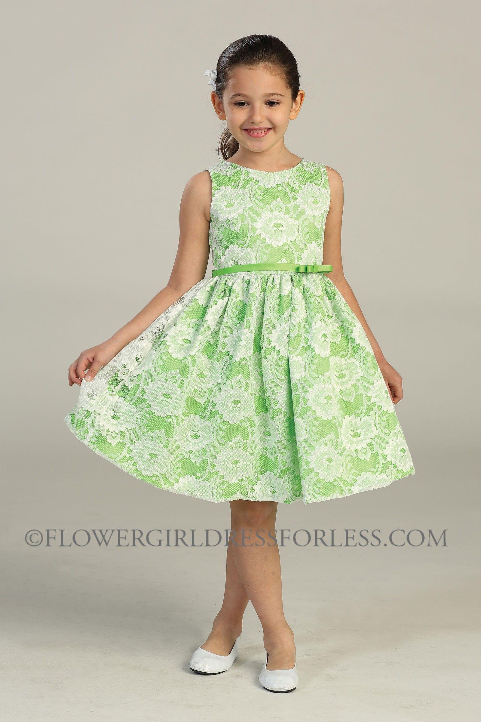 0fa3818f9 SK 436GN - Girls Dress Style 436- Taffeta White Lace Dress - Green ...