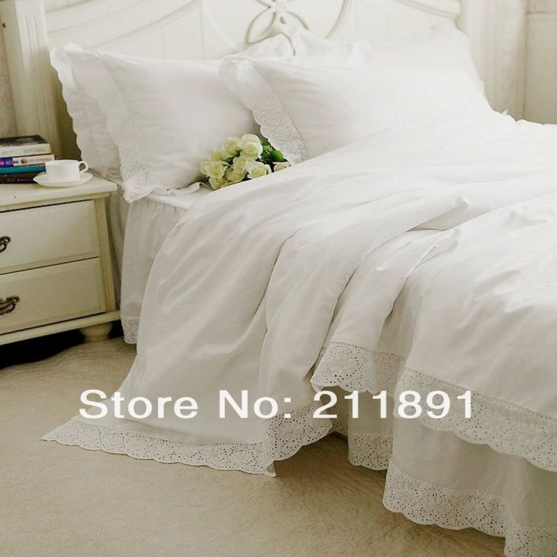 Lovely Newest White Lace Bed Skirts Princess Bedding Set Queen King 4pcs Bedspread  Duvet Cover Bed Sheet