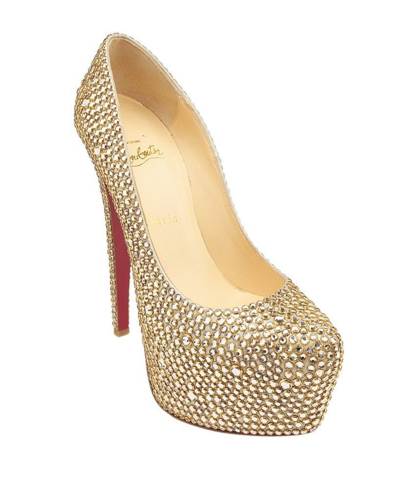 e46ae16475c5 These Christian Louboutin Daffodile 160 Suede Burma Ring Strass pumps  feature 6mm platforms