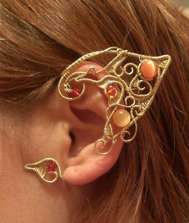 Купить эльфийское ушко wire wrap - кафф, эльфийское ухо, эльф ...
