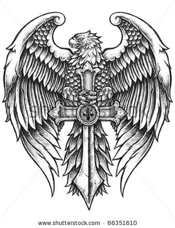Eagle Cross Ver2 Eagle Tattoos Sleeve Tattoos Eagle Wing Tattoos
