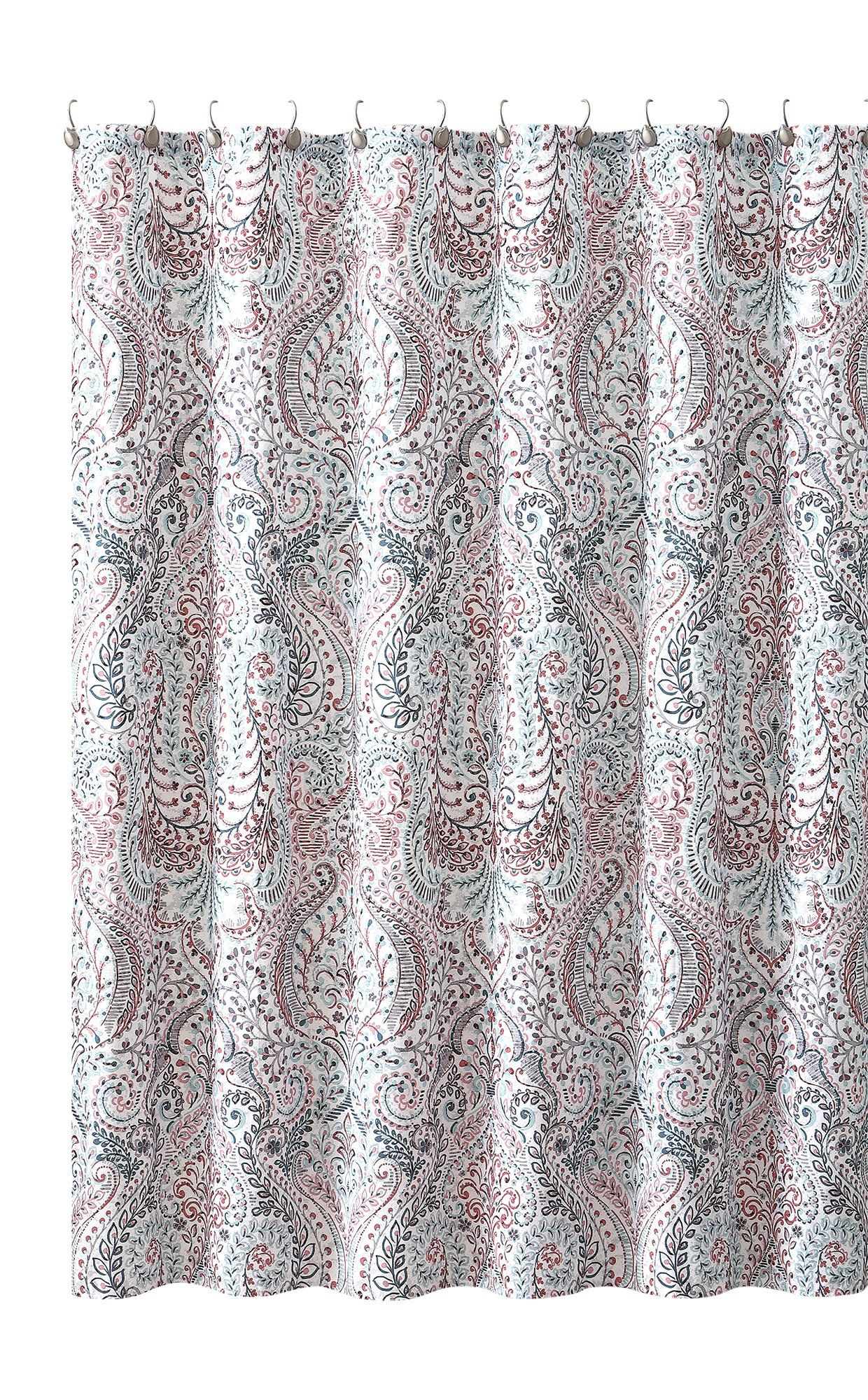 Floral Paisley Turquoise Pink Grey Fabric Shower Curtain Vintage