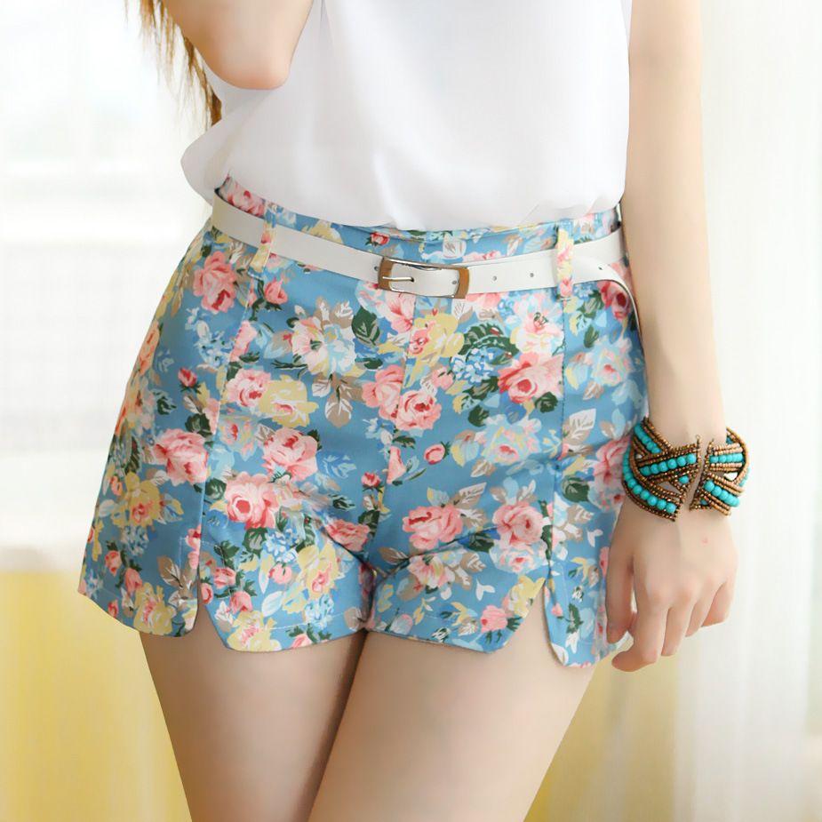 Señora verano shorts flores hotpants High-waist bolsillos dekokordel 34 36 38 40