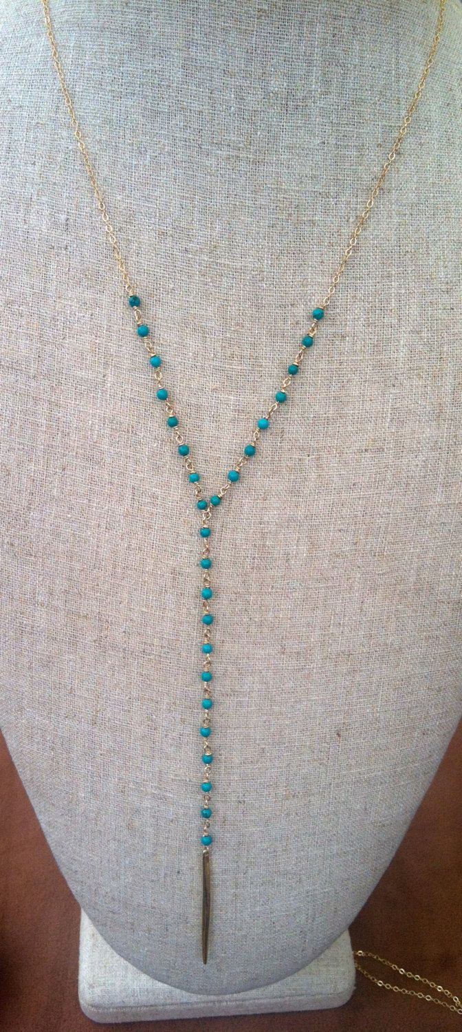 Turquoise beaded Y necklace- Wire wrapped- 14 k gold filled by ZYLCollections on Etsy